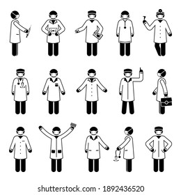 Stick figure doctor man wearing mask vector icon set. Various health worker people postures and poses pictogram illustration