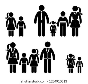 Stick figure family in nice clothes icon set. Full dressed people in different age pictogram