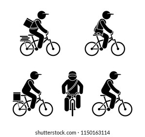 Stick figure fast delivery service guy on bicycle. Express cargo shipping cyclist