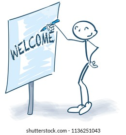 Stick figure with flip-chart and welcome