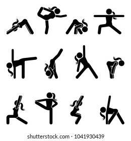 Stick figure girl basic yoga position set. Vector illustration of sportswoman pictogram on white