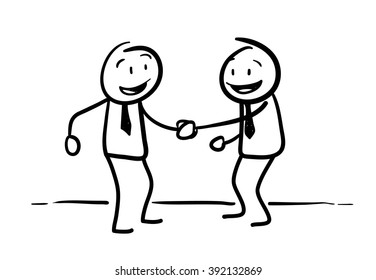 Stick Figure Handshaking, a hand drawn vector doodle illustration of two businessman in a partnership agreement.