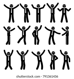 Stick figure happy, funny, motion businessman set. Vector illustration of celebration poses black and white pictogram
