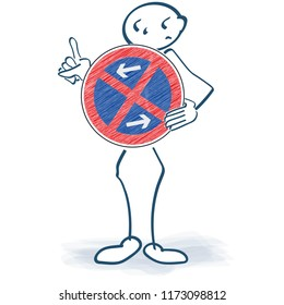 Stick figure holding a prohibition sign in front of the body and absolute no parking