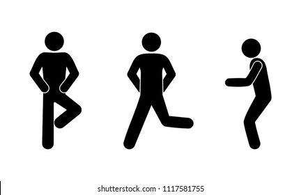 stick figure, icon man stands in different poses, isolated pictograms