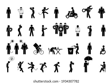 stick figure isolated silhouettes of people, collection of stickman in various poses and situations, man pictograms set, human body on a white background