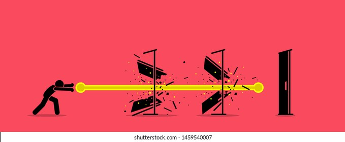 Stick figure man destroying all door with an energy fireball power. Vector artwork concept depict overcome challenges, dealing with difficulty, solving obstacles, and going through barrier of entry.