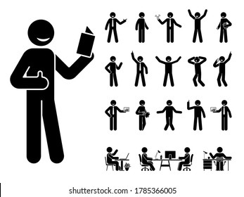 Stick figure man different poses, emotions face design vector icon set. Reading, talking, happy, sad, surprised, amazed, angry, standing, sitting at office stickman person