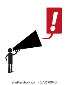 Stick figure man with giant megaphone and exclamation mark vector. Editable Clip Art.