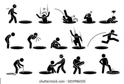 Stick figure man and a hole on the floor. Vector illustrations of a person fall into, climbing out, look into, go inside, jump over, and cover a hole on the ground.