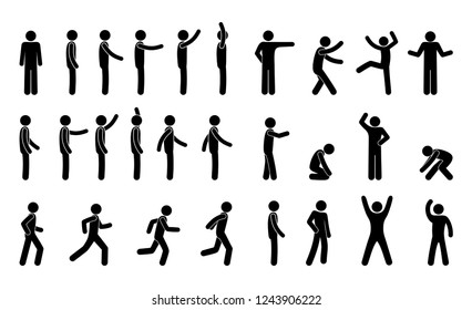 stick figure man, icon set, pictogram people, various movements and poses