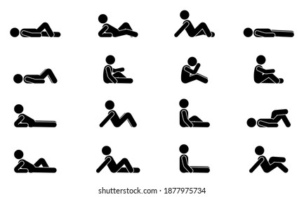 Stick figure man lie down various positions vector illustration icon set. Male person sleeping, laying, sitting on floor, ground side view silhouette pictogram