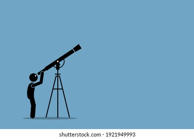 Stick figure man looking through telescope pointing to the sky. Vector illustration concept of star gazing, universe discovery, far away distant, space research, and curiosity.