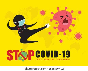 Stick figure man in medical face mask fly kick coronavirus. Stop coronavirus (covid-19) vector illustration. Doctor fighting coronavirus pictogram. Epidemic infectious disease concept art poster.