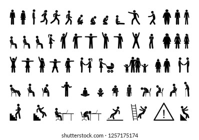 stick figure man, pictogram set, people different poses icons, movement silhouettes human silhouette stand, walk, sit, family symbol, warning signs