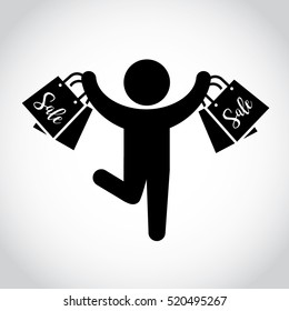 Stick figure man with shopping bags. Symbol or icon of shopper. Vector pictogram.