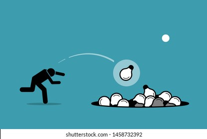 Stick figure man throwing away unwanted ideas into a hole. Vector concept artwork depicts ditching useless and unworkable ideas.
