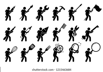 Stick figure stick man using various tools, and equipments. It includes writing and drawing instruments, mechanic tools, cooking utensils, and other objects.