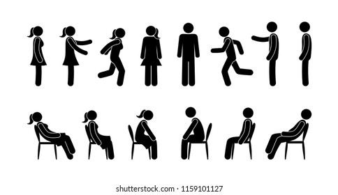 stick figure man and woman pictograms, icon set people, man stands, sits, runs, human figure, vector silhouette, symbol person