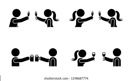 Stick figure men and women drinking wine, beer, champagne icon. Happy celebration of young people pictogram