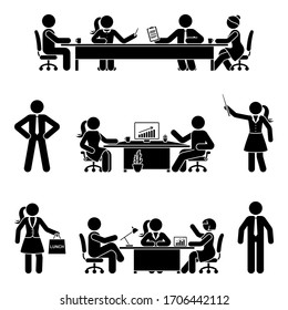 Stick figure office male and female at business meeting vector icon set. Group of team coworkers talking, negotiating, discussing, working, sitting at desk, using computer