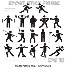 stick figure on a white background. A collection of flat figures of people engaged in sports.