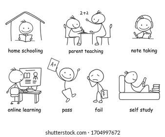 Online-Lernen von Figuren anklicken, Doodle-Clip-Art von Hausschulen