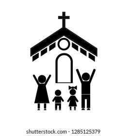 Stick figure of people going to the Church with the whole family. A family of four prays to God.