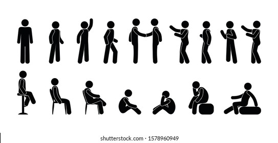 stick figure people icon, pictogram man, isolated human silhouette, people stand, sit, go