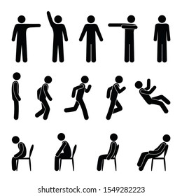 stick figure people in various poses, isolated human silhouettes, a man stands, sits, runs and falls