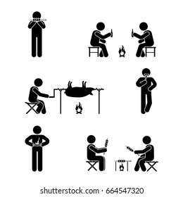 Stick figure picnic set. Vector illustration of barbecue position pictogram