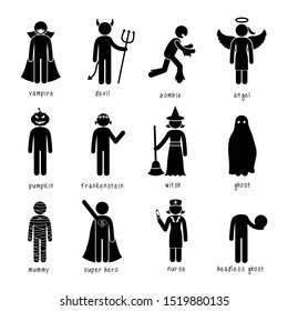 Stick figure pictogram halloween monsters vampires witch ghost costume dress up icon
