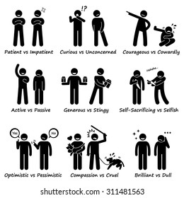 Stick Figure Pictogram Icons depicting Human Personalities, Opposite Values, Positive vs Negative