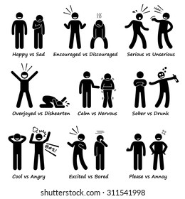 Stick Figure Pictogram Icons depicting Opposite Feeling Emotions, Positive vs Negative Actions
