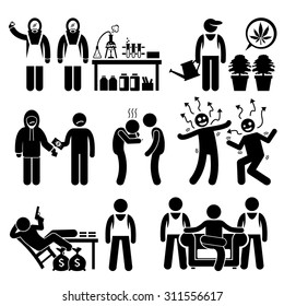 Stick Figure Pictogram Icons depicting Chemist cooking Illegal Drugs, Drug Lord, Business Syndicate, Gangster