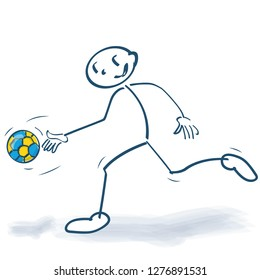 Stick figure is playing with a handball