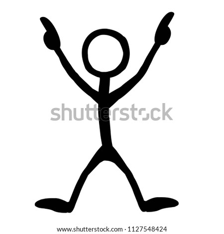 stick figure pointing excitedly stock vector royalty free
