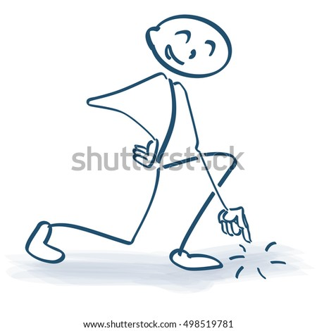 stick figure pointing ground stock vector royalty free 498519781