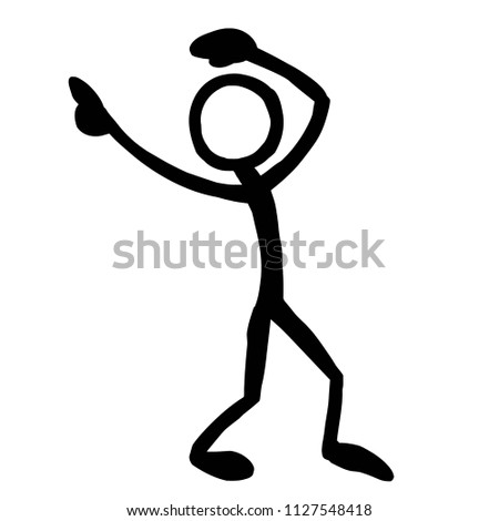 stick figure pointing overhead stock vector royalty free