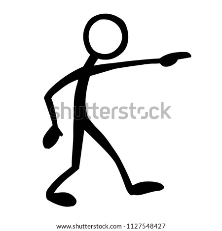 stick figure pointing right stock vector royalty free 1127548427