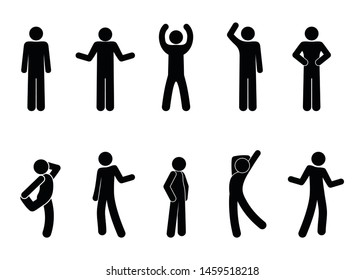 Stick figure positions set vector man