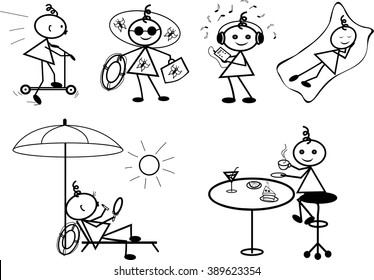 Stick figure positions set vector. Part 3 (to ride a scooter, going to the beach, listen to music, lying on a blanket, sit under an umbrella, sunbathe on a lounger, there is cake, drinking tea)