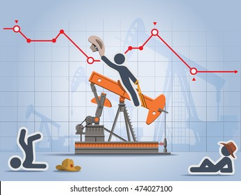 Stick figure rides oil pump as mechanical bull with graph of oil price in a background.