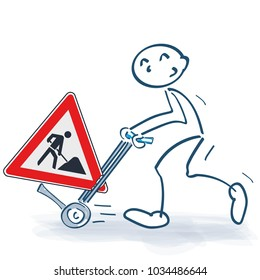 Stick figure with sack truck and construction sign