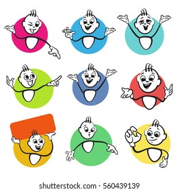 Stick figure series emotions - 9 Advertisers, Hand drawn Vector Artwork