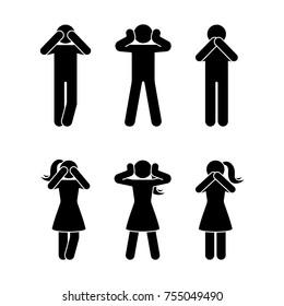 Stick figure set of three wise monkeys pictogram. See no evil, hear no evil, speak no evil concept icon