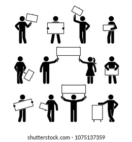 Stick figure showing empty banner set. Vector illustration of people holding blank on white