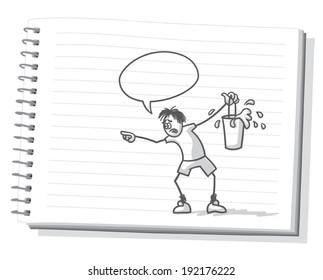 Stick figure sketch book doodle with pencil