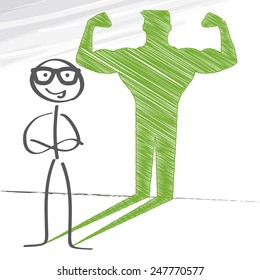Stick figure with sketched strong and muscled arms