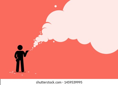 Stick figure smoker smoking cigarette with a lot of smoke. Vector artwork concept depicts unhealthy lifestyle, ignorant smoker, tobacco, nicotine, cancer, and addiction.